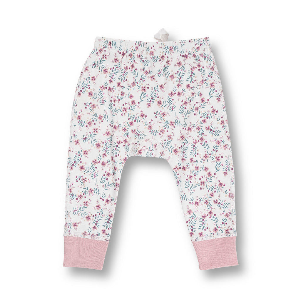 back of sapling child organic floral baby pants