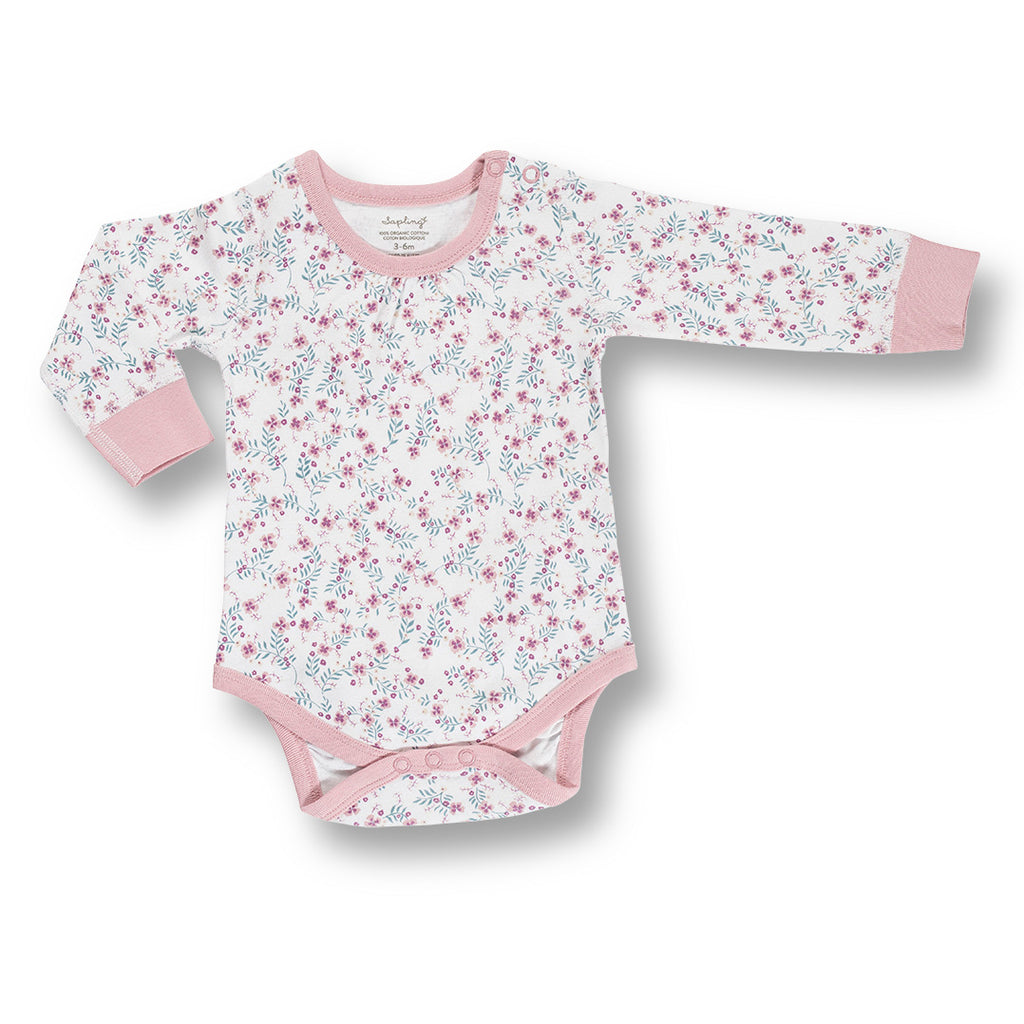 sapling child floral long sleeve organic bodysuit into the woods