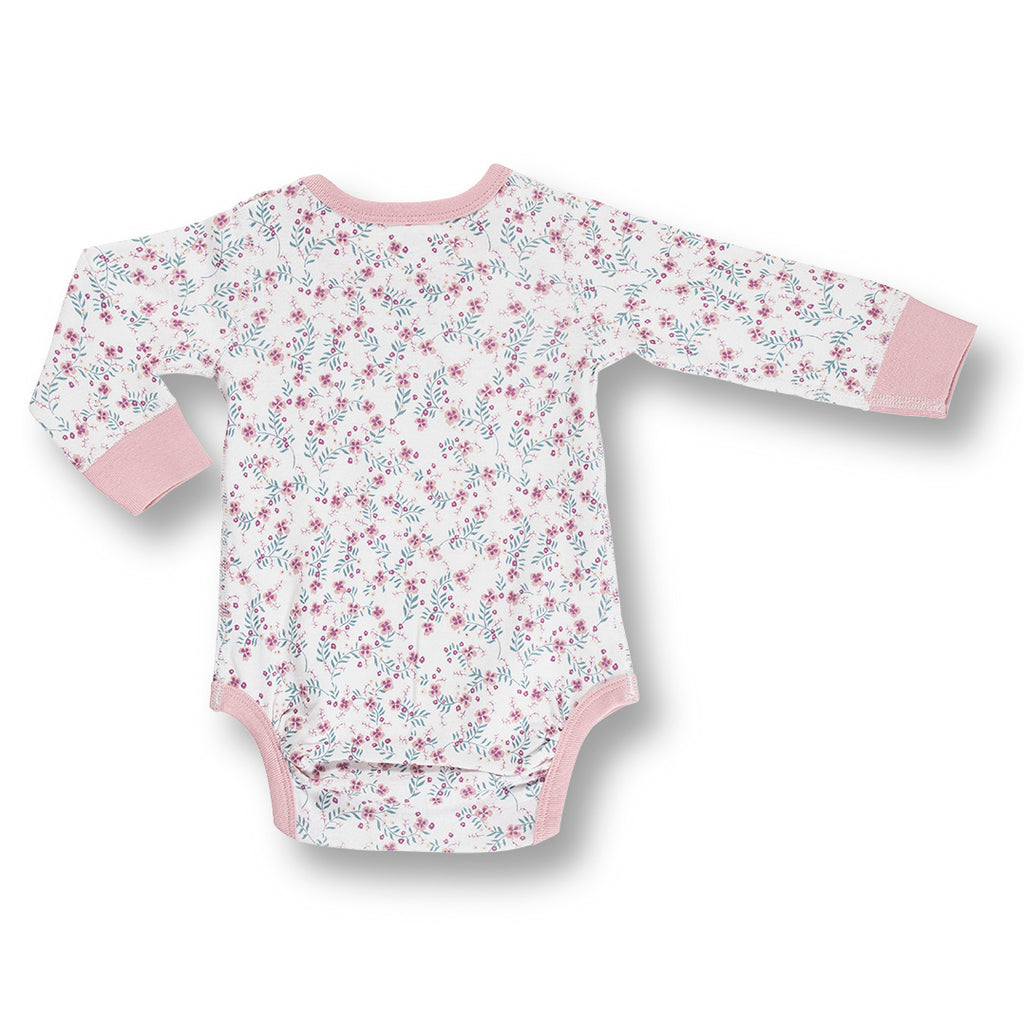 back of sapling child floral long sleeve organic bodysuit into the woods
