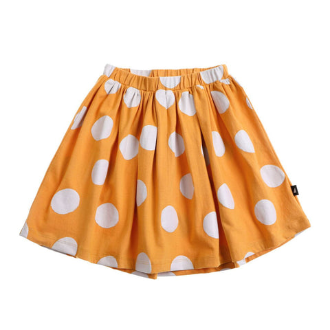 anarkid mustard yellow girls organic skirt with white spots