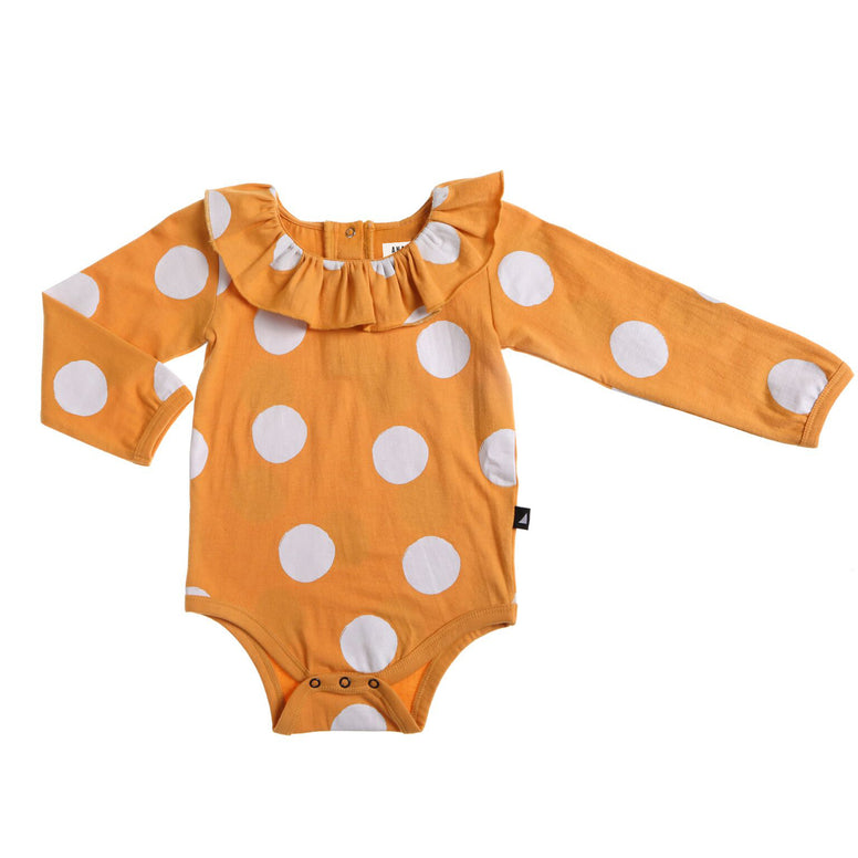 anarkid mustard yellow girls and baby leotard with white spots