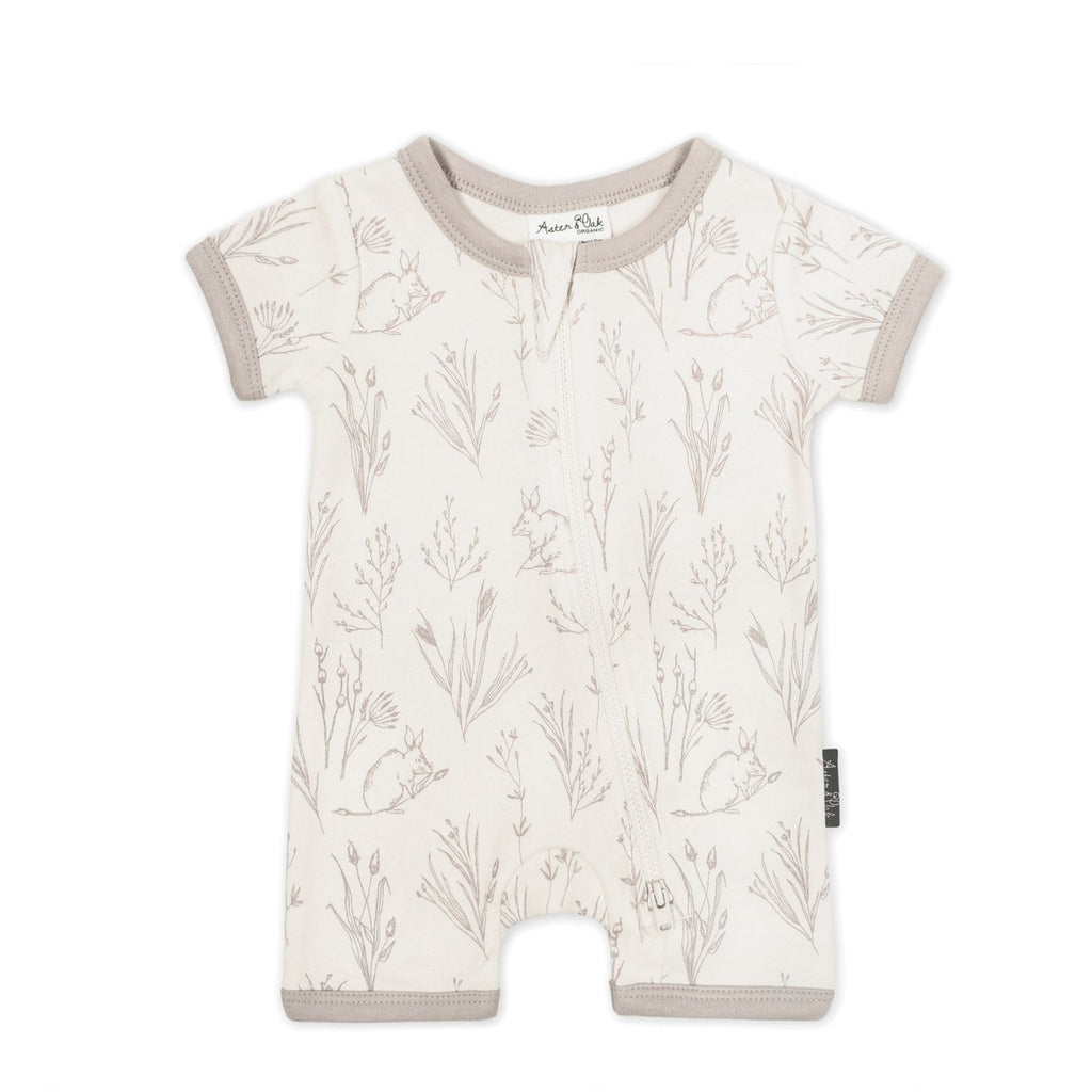 organic unisex short sleeve aster & oak zip romper