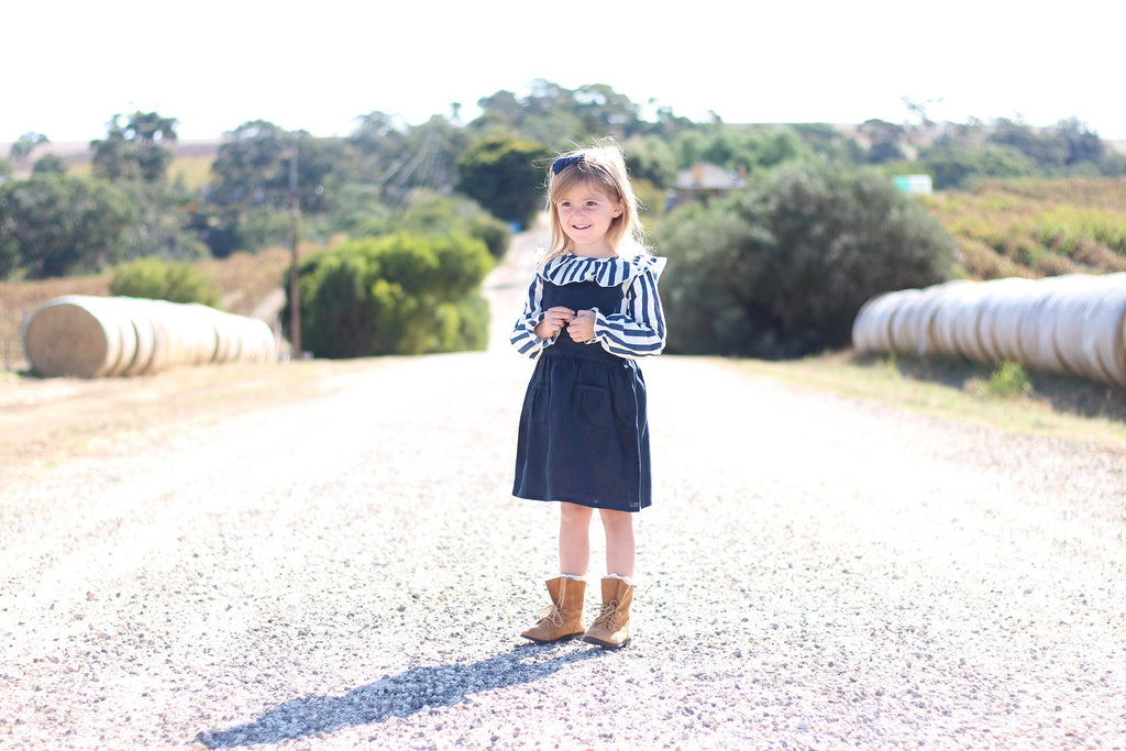 stripy girls navy and white blouse anarkid