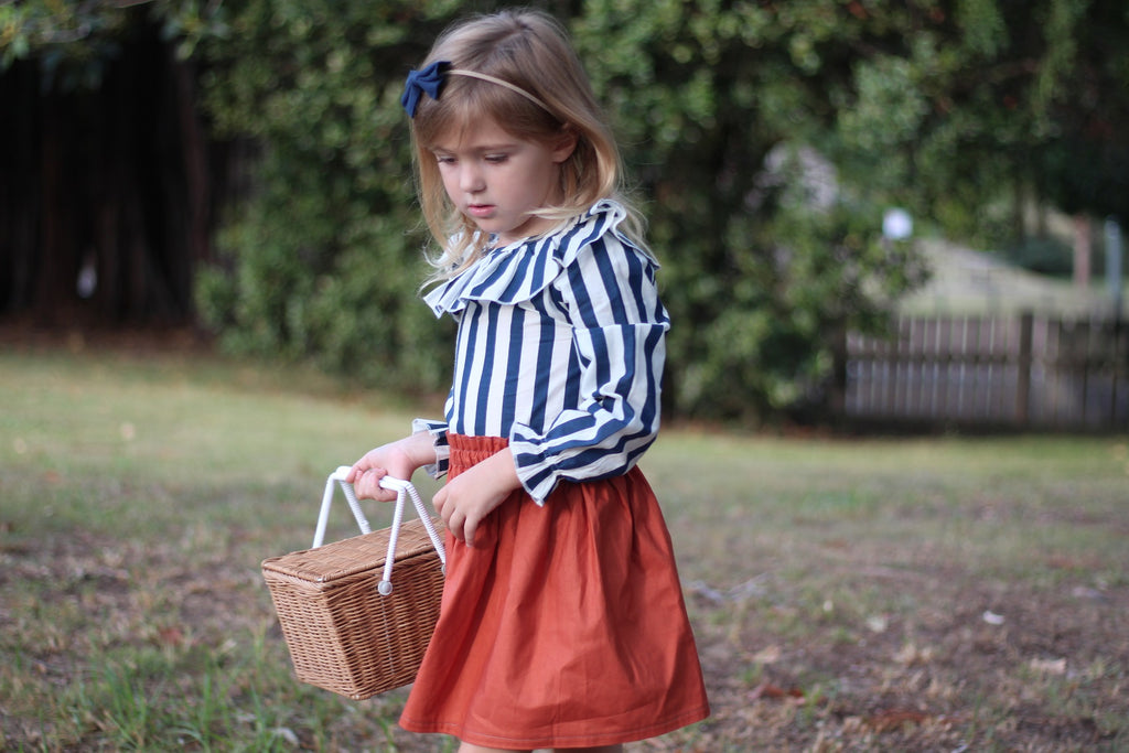 navy and white stripe organic cotton girls blouse