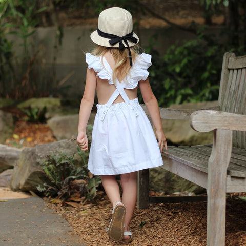 swell and solis ruffle sleeve periwinkle pinafore in white