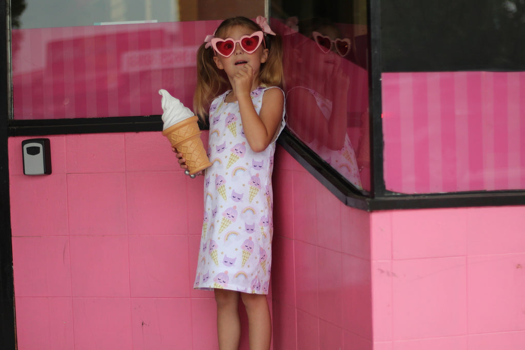 handmade girls tunic dress with ice creams rainbows and cats
