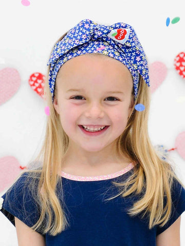 Head scarf for girls babies navy blue oobi turban