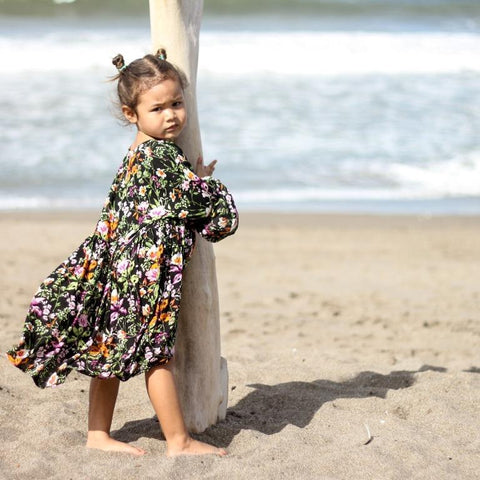 melatiku long sleeve black floral girls dress