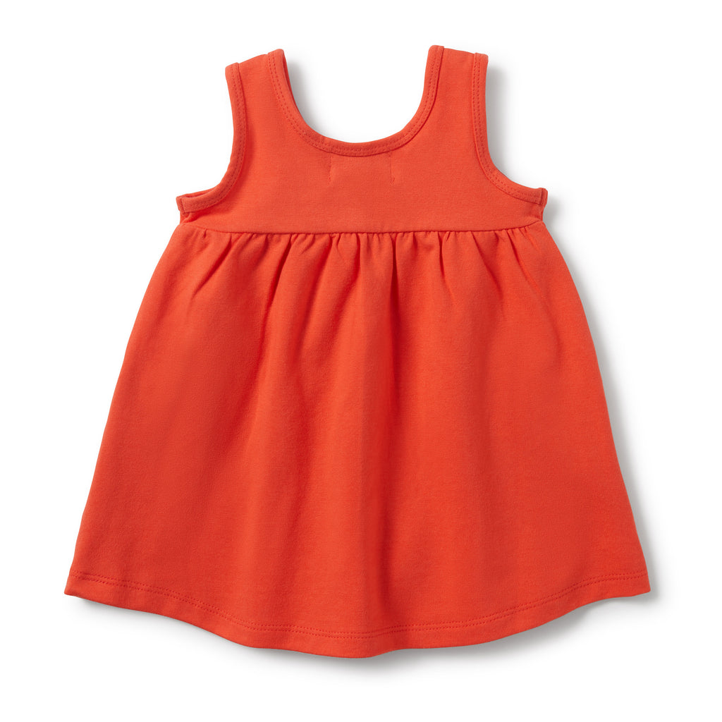 coral wilson & frenchy baby dress from the back