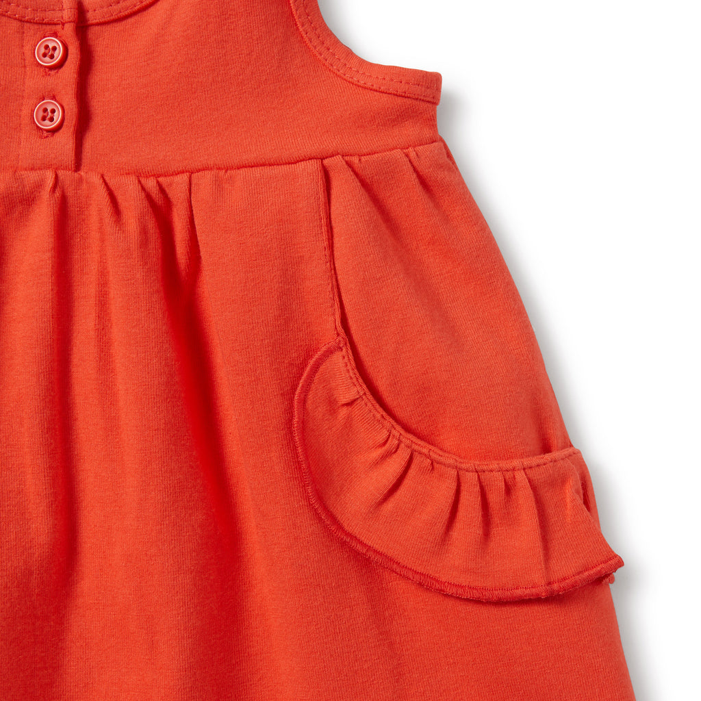 ruffle pocket detail on wilson & frenchy coral baby dress