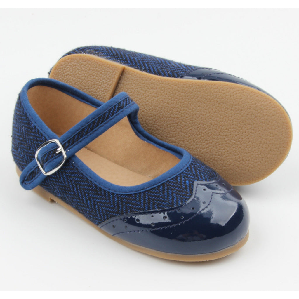 navy girls shoes by anchor and fox in mary jane style