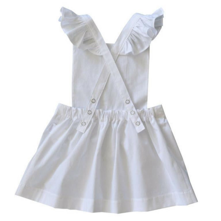 swell & solis white ruffle periwinkle pinafore