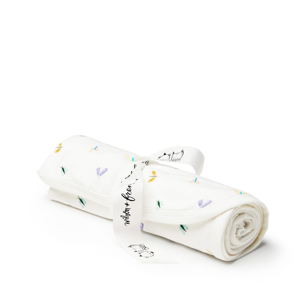 wilson and frenchy baby girl swaddle with butterfly print