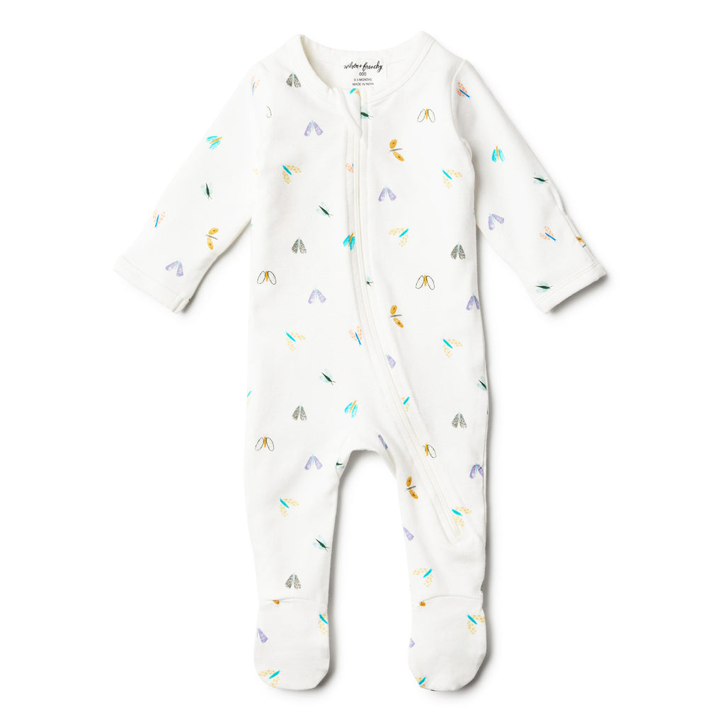 wilson & frenchy long sleeve organic zip romper butterfly print