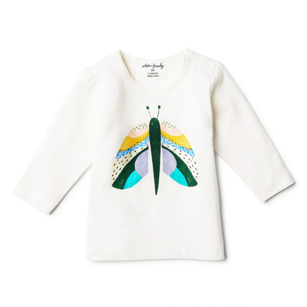 long sleeve organic butterfly top for baby girls and toddlers
