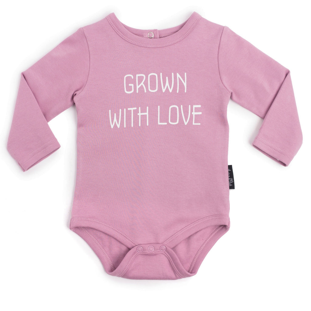 aster and oak grown with love organic long sleeve onesie