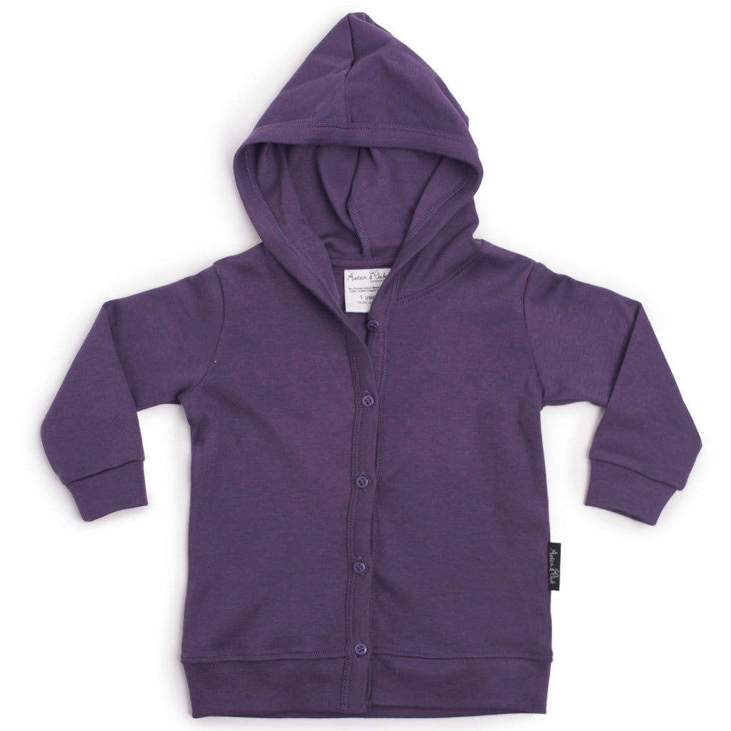 organic purple hoodie for girls and babies by aster and oak
