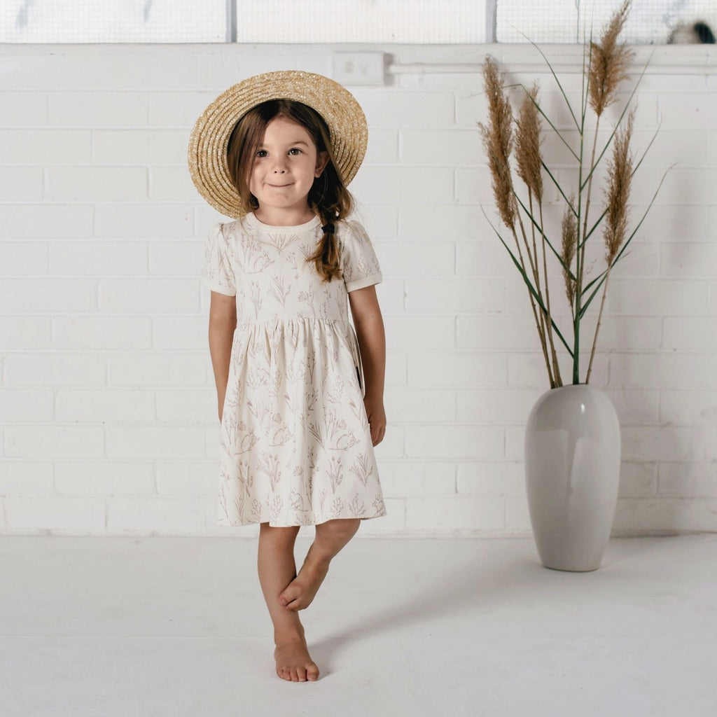 aster & oak organic short sleeve cream girls summer dress