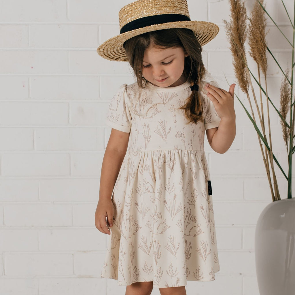 short sleeve cream girls summer dress by aster & Oak
