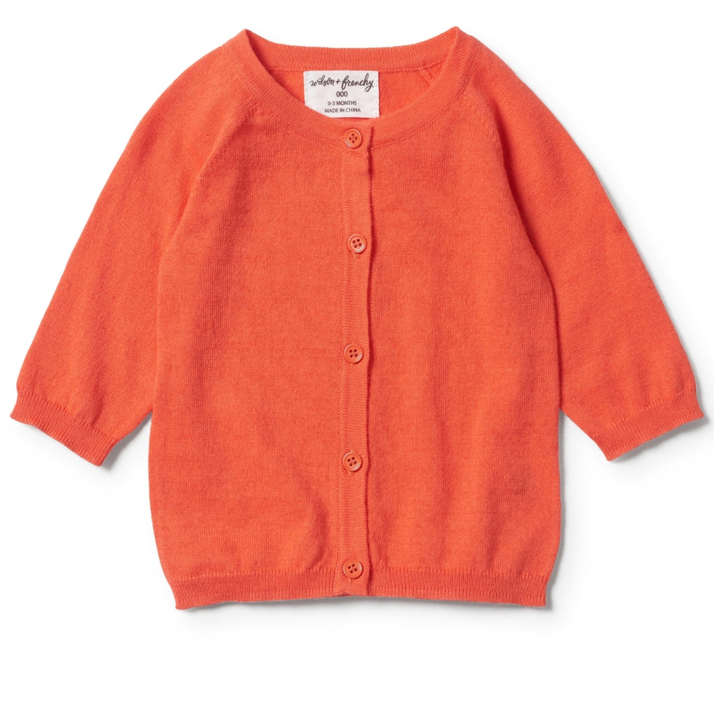 wilson & frenchy baby girl summer cardigan lightweight cotton hot coral