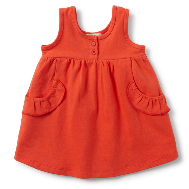 coral wilson & frenchy baby dress with ruffle pockets