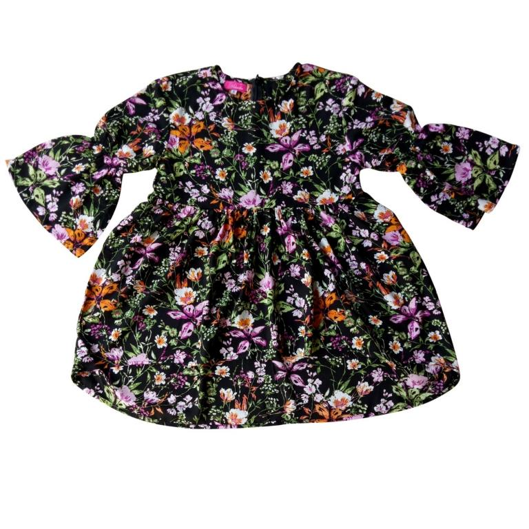 long sleeve floral girls toddler dress