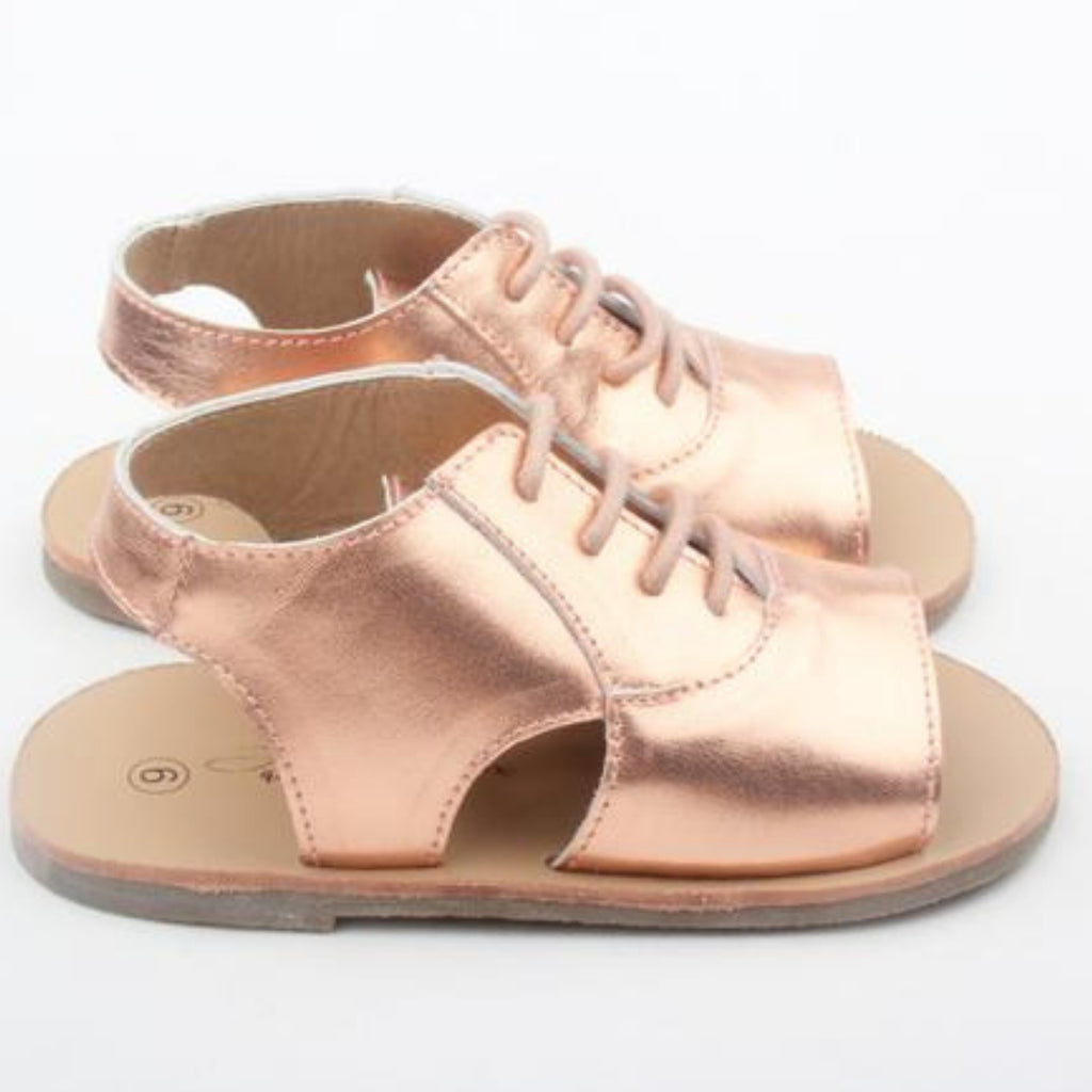 anchor & fox rose gold leather summer sandals for girls and toddlers