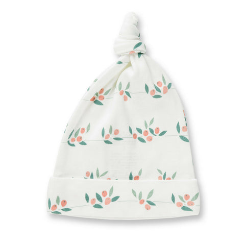 white organic cotton baby hat with berry buds print sapling child