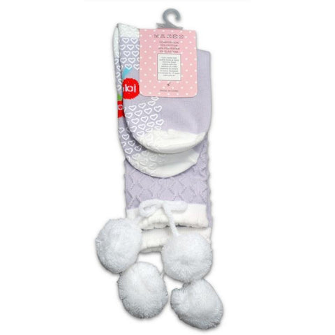 girls knee high lilack socks with pom poms oobi