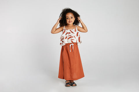 mad about mini terracotta paint stripe cami with midi skirt