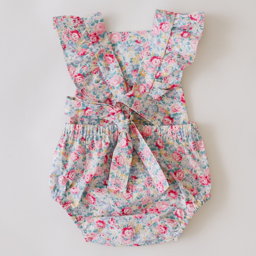 two darlings vintage floral ruffle sleeve baby romper