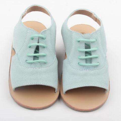 anchor and fox suede girls and toddler sandals in seafoam