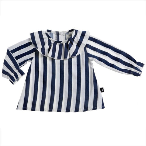 Organic cotton girls and baby top anarkid block stripe frill neck smock