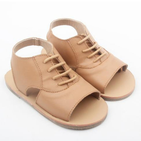 anchor and fox girls and toddler sandals tan coloured leather