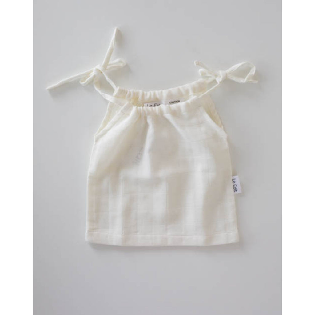 le edit organic muslin white girls singlet