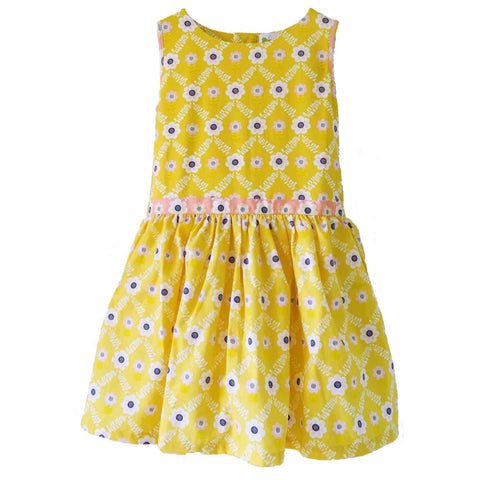 yellow oobi girls summer party dress