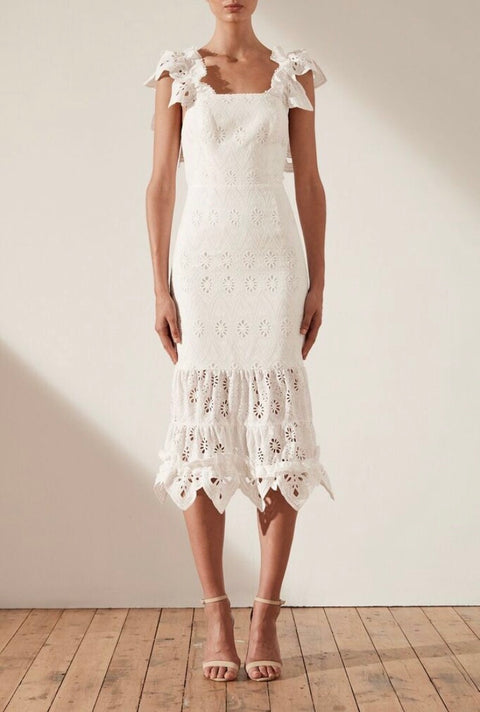 Viola Cotton Lace Cocktail Midi Dress