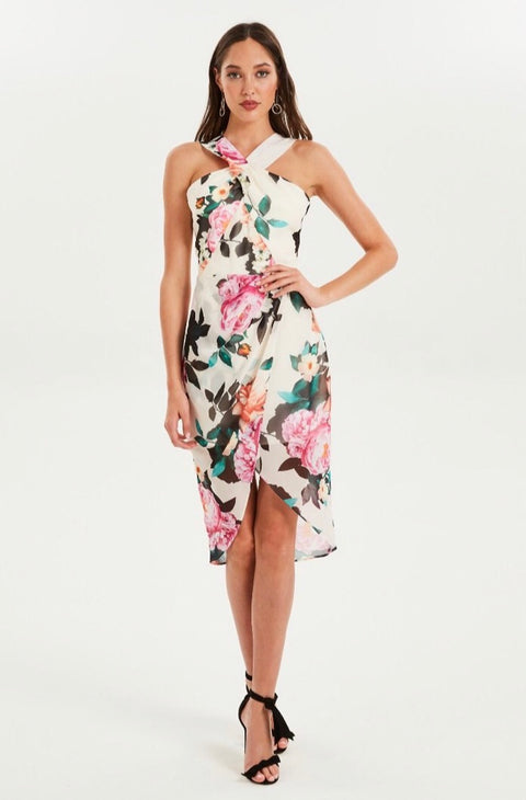Petal Pop High Neck Drape Dress