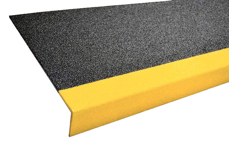 Sure Foot 11.75 Inch Black with Safety Yellow Nose Anti Slip Non Skid Fiberglass Step Covers
