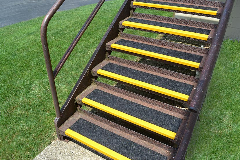 Sure Foot 9 Inch Black with Safety Yellow Nose Anti Slip Non Skid Fiberglass Step Covers