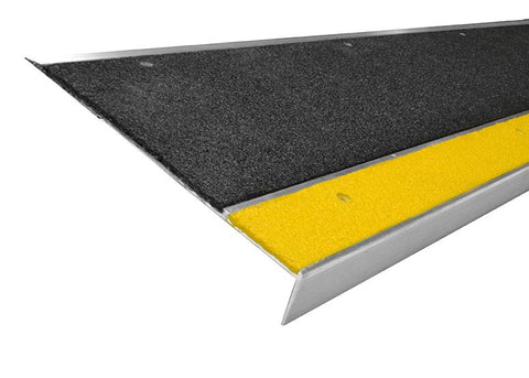 "11"" x 48"" Bold Step Anti Slip Non Skid Safety Step Cover Stair Tread 411NS20048102 Black with Yellow Nose"