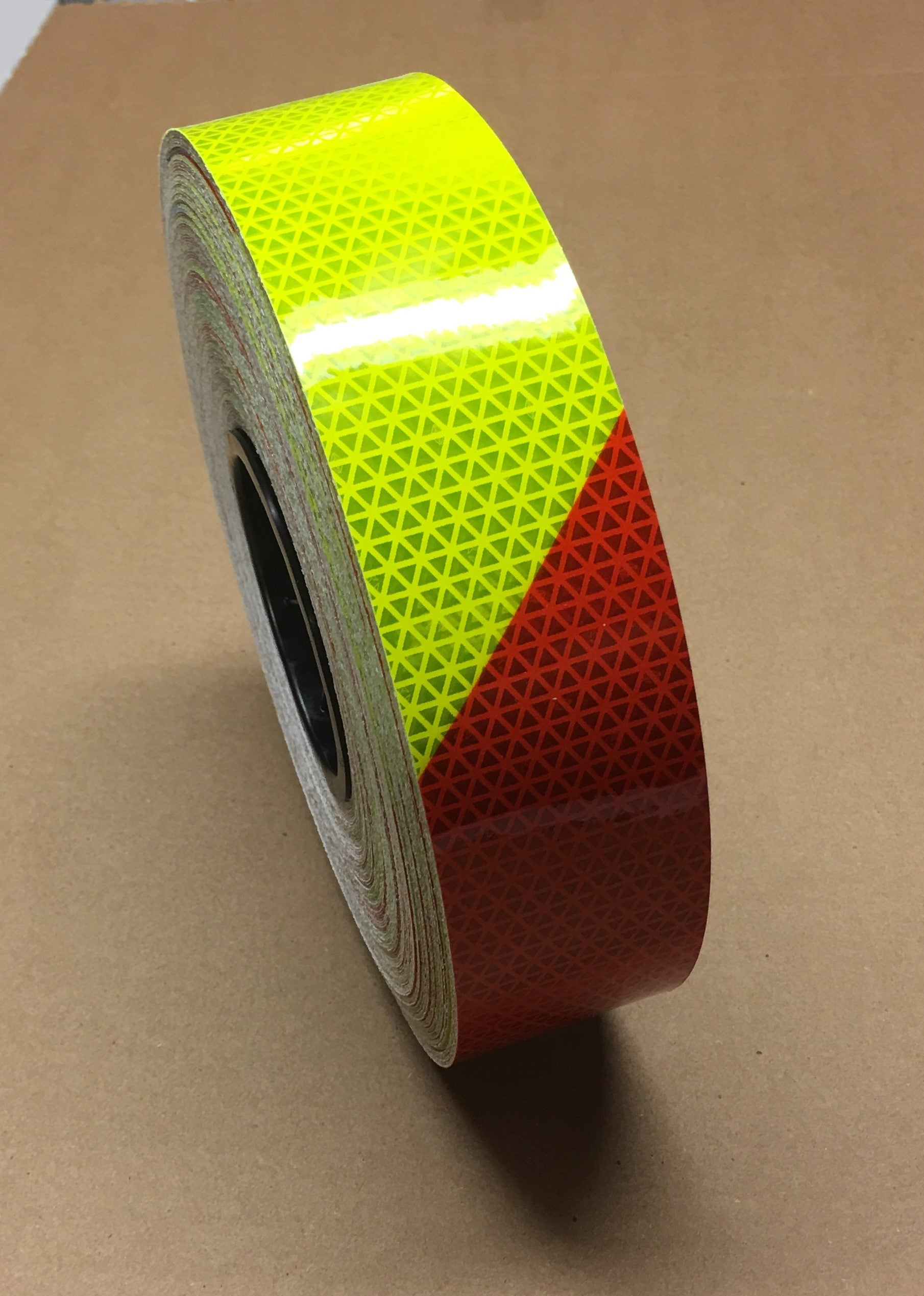 "2"" x 10' Roll V98 Conformable Fluorescent Lime Yellow and Red Striped Reflective Tape Left Hand Slant"