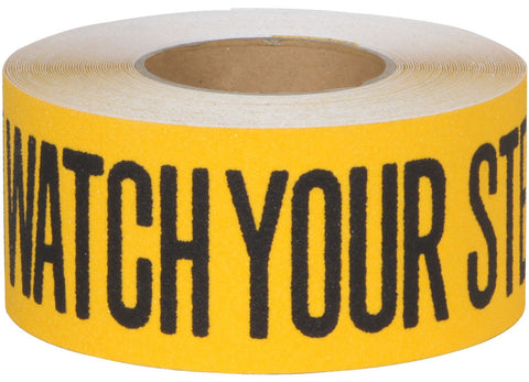 "3"" Wide X 60' Long Abrasive Anti Slip Tape Black Yellow Caution Watch Your Step 3335-3-CAUTION Case of 4 Rolls"