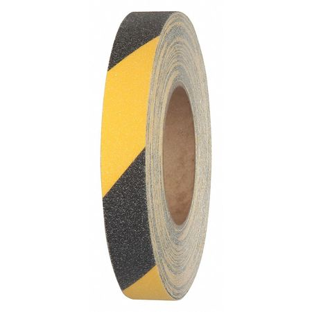 "1"" Wide X 60' Foot Roll of Abrasive Anti Slip Non Skid Grit Grip Safety Tape Black Yellow"