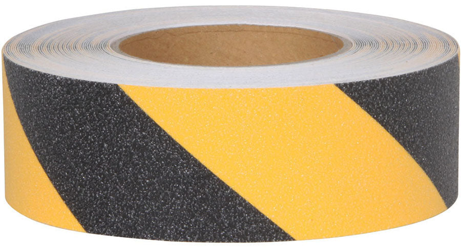 Black & Yellow Stripe Abrasive Anti-Slip Tape 60 Foot Rolls in Case Quantity - Minimum Order is 2 Cases