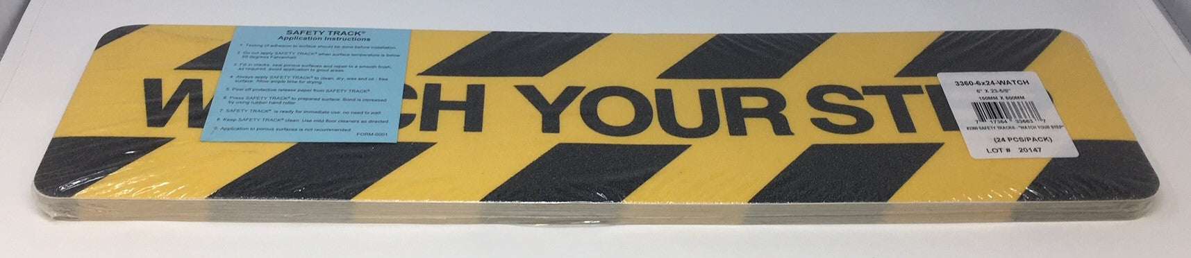 "6"" X 24"" Watch Your Step Anti Slip Treads  - Pkg. of 24 - Up to 10 Day Processing"