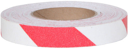 "1"" X 60' Abrasive Anti Slip Non Skid Safety Track Tape Red and White 3365-1 Case of 12 Rolls"