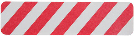 "Red / White Non-Skid Stair / Step Treads - Multiple Sizes/Options - 6"" x 24"" Pkg. of 50 Red / White Stripe Treads - 10 Day Processing - Special Order - No Return"