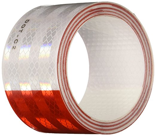 "2"" x 150' Roll 6"" RED / 6"" WHITE Pattern 3M DOT Reflective Tape  - Ships UPS"