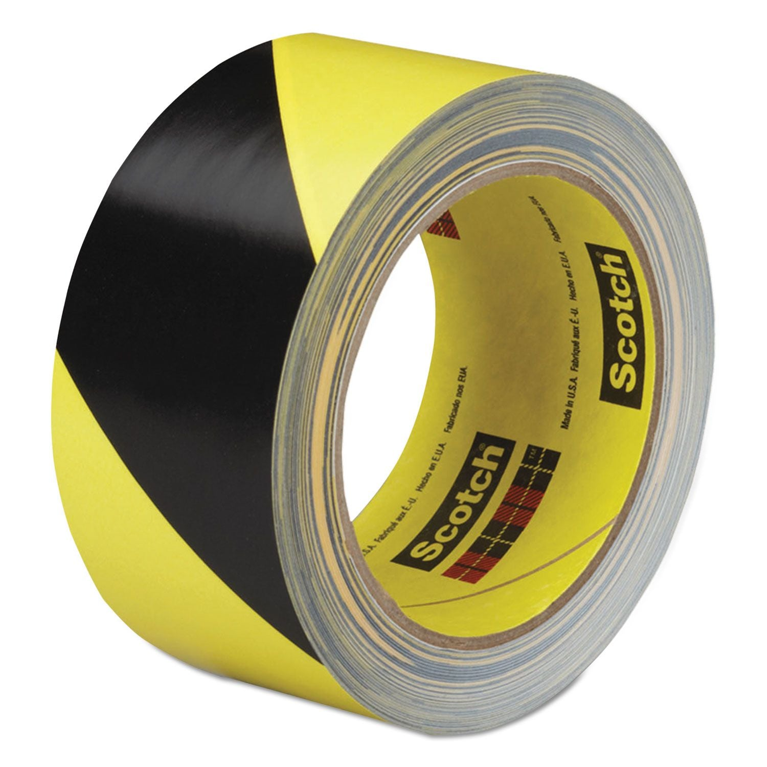 "3M Safety Marking Hazard Tape 5702 Black Yellow Stripe 3"" in x 36 yd Case of 12 Rolls 5.4 mil 70-0060-0835-6"